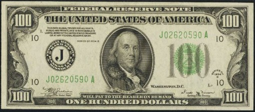 16. 1934 B - FEDERAL RESERVE NOTE