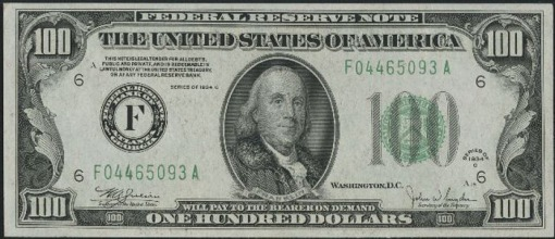 17. 1934 C - FEDERAL RESERVE NOTE