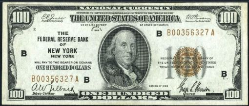 20. 1929 - New York federal reserve bank note