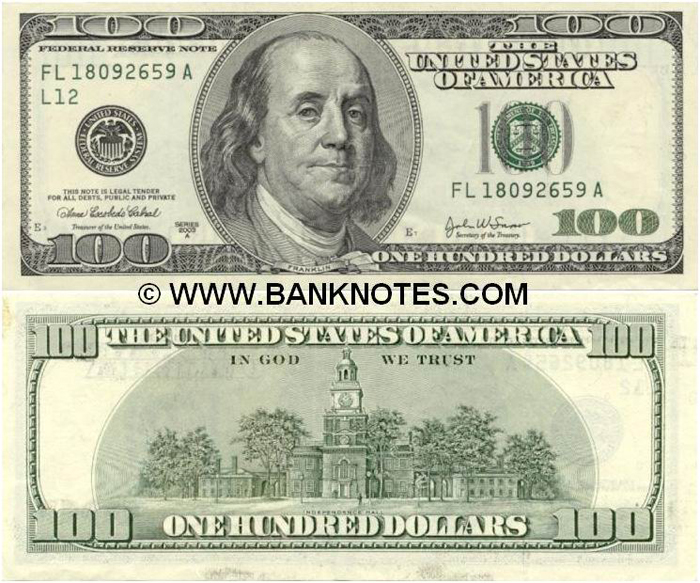 UANG KERTAS 100 DOLLAR AS BARU DAN KUNO | TOPIK WARNA-WARNI 100 Dollar Bill 2013 Back