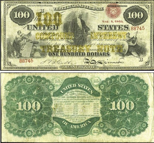 46. 1864 or 1865  - COMPOUND INTEREST TREASURY NOTE