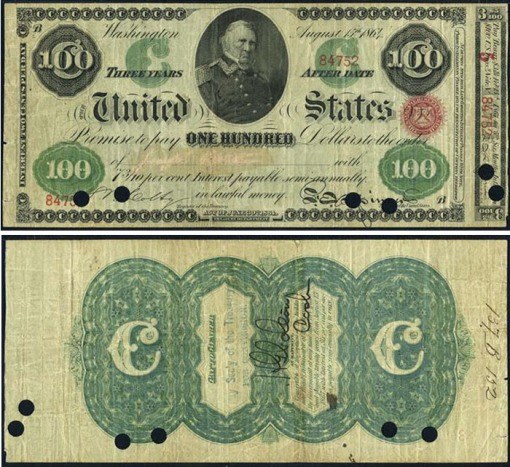 51. 1861 - 1865 Interest Bearing Treasury Note